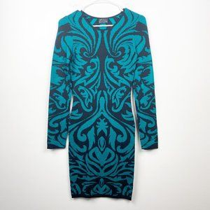 TORN BY RONNY KOBO Black Teal Design Bodycon Small